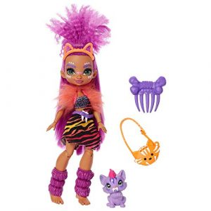 Cave Club poupée préhistorique articulée Roaralai aux cheveux violets avec figurine bébé tigre Ferrell et accessoires, jouet pour enfant, GNL84